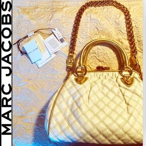 Handbag Marc Jacobs Gold/White Shoulder Bag NWT